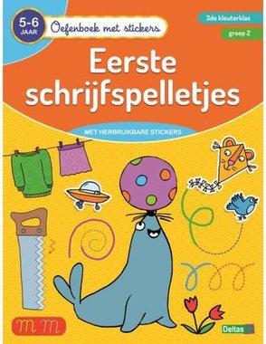 Oefenboek met stickers - Eerste schrijfspelletjes 5-6 jaar - 3de kleuterklas - groep 2 / Deltas