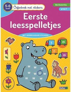 Oefenboek met stickers - Eerste leesspelletjes (5-6 jr.) / Deltas