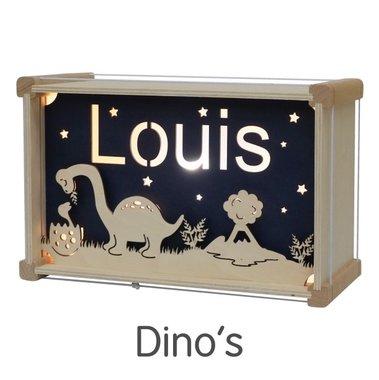 Houten DeLuxe lamp met naam: Dinosaurus / Het Houtlokael