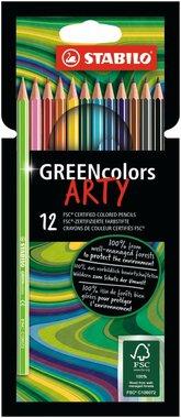 12 Arty Greencolors Kleurpotloden / Stabilo