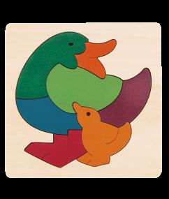 George Luck - Regenboog Eend houten puzzel 2+ / Hape