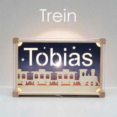 Houten DeLuxe lamp met naam: Trein / Het Houtlokael