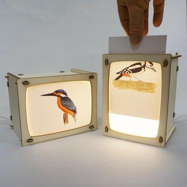 Houten Ansichtkaartenlamp / Het Houtlokael