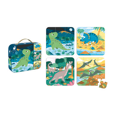 Puzzelkoffer - 4 puzzels Dinosaurus / Janod