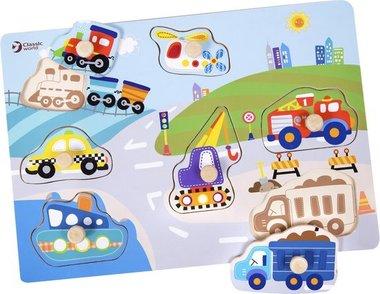 Houten knoppuzzel voertuigen / Classic World