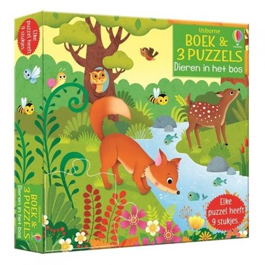 Puzzel en boek Dieren in het bos ( 3x9 st) 2+ / Usborne