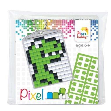 Pixel Medaillon sleutelhanger Dino / Pixelhobby