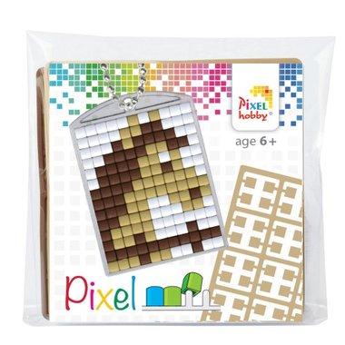 Pixel Medaillon sleutelhanger paard / Pixelhobby
