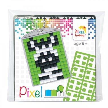 Pixel Medaillon sleutelhanger Zebra / Pixelhobby