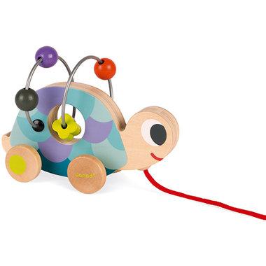 Houten trekfiguur Schildpad met kralenspiraal / Janod