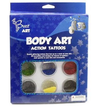 Glittertattoo set Action (6 kleuren + 25 designs) / Buzz Art