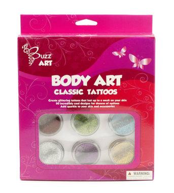 Glittertattoo set Classic (6 kleuren + 25 designs) / Buzz Art