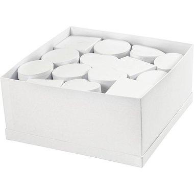 2. Knutselvoorwerp:  Papier-maché doosje met deksel, wit.