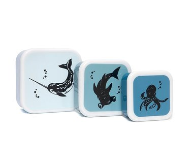 Snackbox set Sea Animals (3 stuks) / Petit Monkey