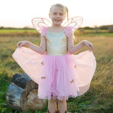 Gold Butterfly jurk met vleugels  (5-7 jaar) / Great Pretenders
