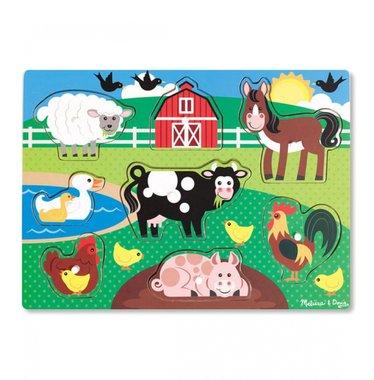 Houten knoppuzzel boerderij (8 stukjes) / Melissa & Doug