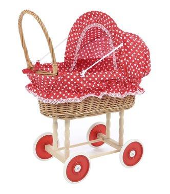 Poppenwagen riet met kleine hartjes