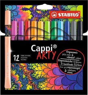 12 cappi arty viltstiften met ring  / Stabilo