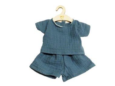Poppenkleding setje met broek indigo / Hollie