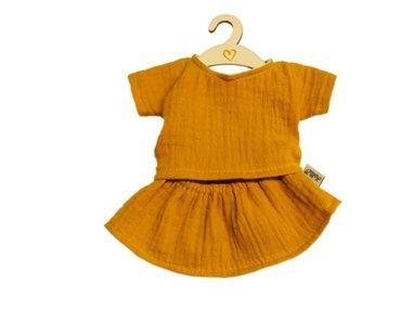 Poppenkledingset shirt met rok ochre / Hollie
