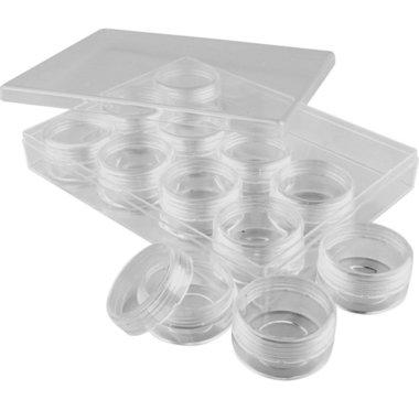 Plastic bewaarpotjes 20 mm (12 stuks) met omdoos