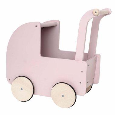 Houten poppenwagen met kap / JaBaDaBaDo