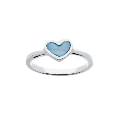 Kinderring Hart blauw parelmoer / Lilly