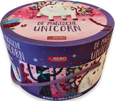 Boek + giga puzzel (30 st) - De magische unicorn / Rebo