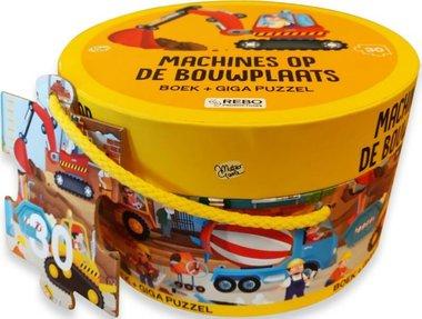 Boek + giga puzzel (30 st) - Machines op de bouwplaats / Rebo