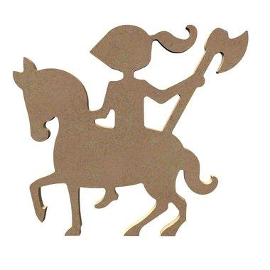 Houten knutselfiguur ridder te paard / Foam Clay (Gomille)