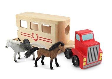 Houten paardentrailer met paarden / Melissa & Doug
