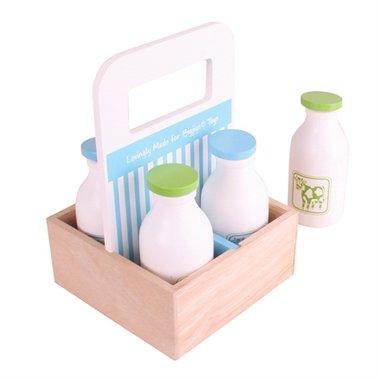 Houten melkflesjes in krat / BigJigs