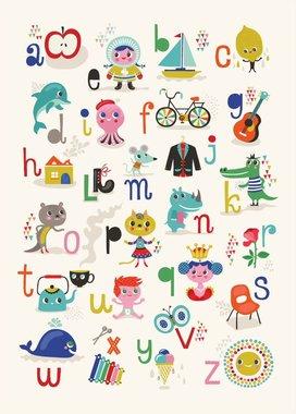 Poster ABC appel- zon 50 x 70 cm NL  / Petit Monkey