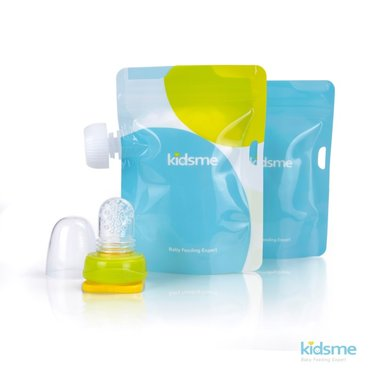 Reusable Food Pouch with Adaptor set - Lime / Kidsme