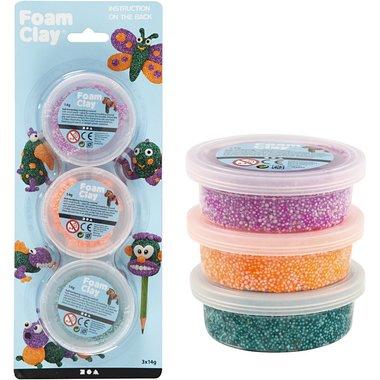 Foam Clay Glitter set van 3: groen, paars, neon oranje / Foam Clay