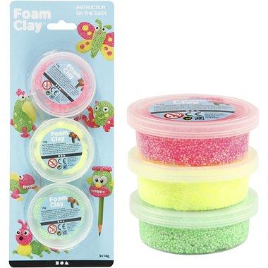 Foam Clay Glitter set van 3: lichtgroen, neon geel, neon roze / Foam Clay