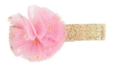 Haarclips goud met roze tule bloem (2 st) / Global Affairs