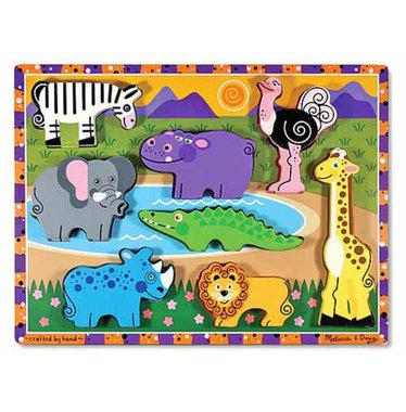 Houten chunkypuzzel safari (8 stukjes) / Melissa & Doug