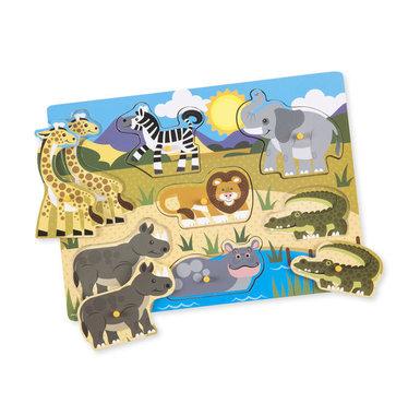 Houten knoppuzzel safari (7 stukjes) / Melissa & Doug