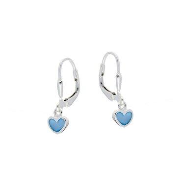 Zilveren kinderoorhangers - blauwe harten / Lilly