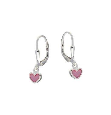 Zilveren kinderoorhangers - roze harten / Lilly
