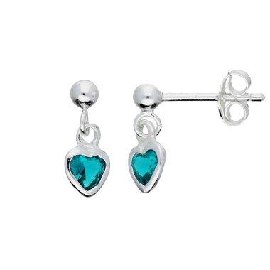 Zilveren kinderoorhangers - blauw zirkonia hart / Lilly