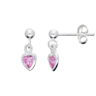 Zilveren kinderoorhangers - roze zirkonia hart / Lilly