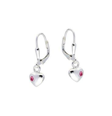 Zilveren kinderoorhangers - hart roze zirkonia / Lilly