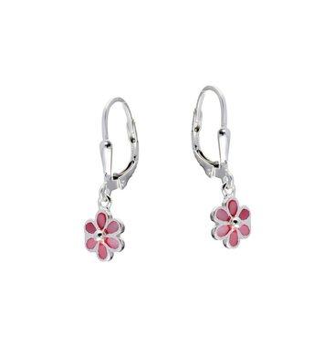Zilveren kinderoorhangers-roze bloem / Lilly
