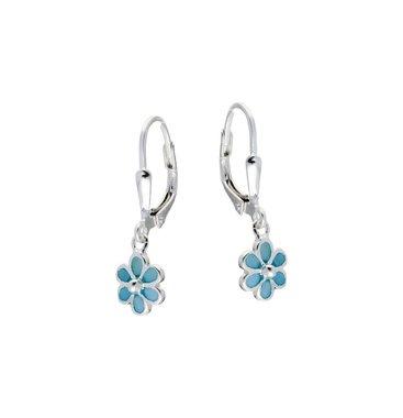 Zilveren kinderoorhangers - blauwe bloem / Lilly