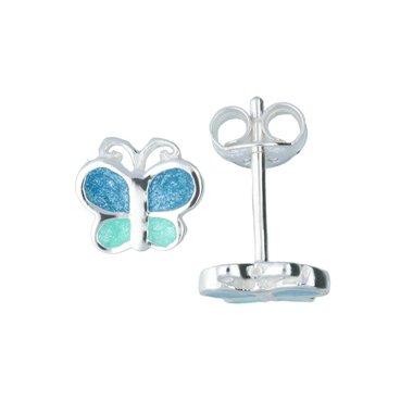 Zilveren kinderoorknopjes - blauwe discovlinder / Lilly