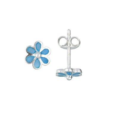 Zilveren kinderoorknopjes - blauwe  bloem / Lilly