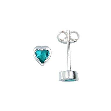 Zilveren kinderoorknopjes - blauw zirkonia hart / Lilly