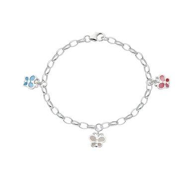 Zilveren kinderbedelarmband jasseron met vlinders / Lilly